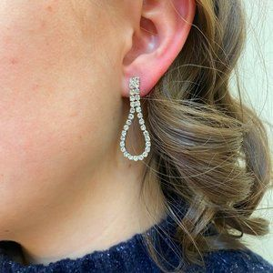 Silver Rhinstone Teardrop Earrings